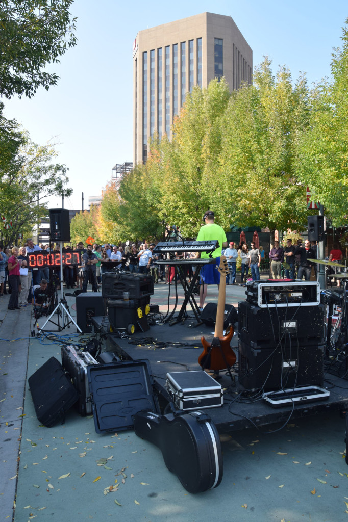 During attempt - crowd and downtown Boise