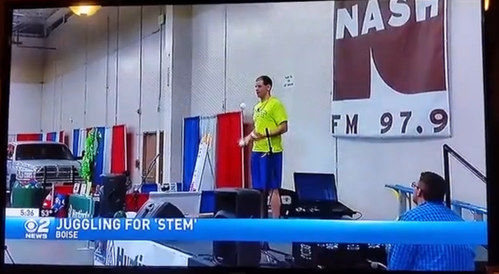 CBS 2 News Screenshot from Broadcast (Juggling for STEM)