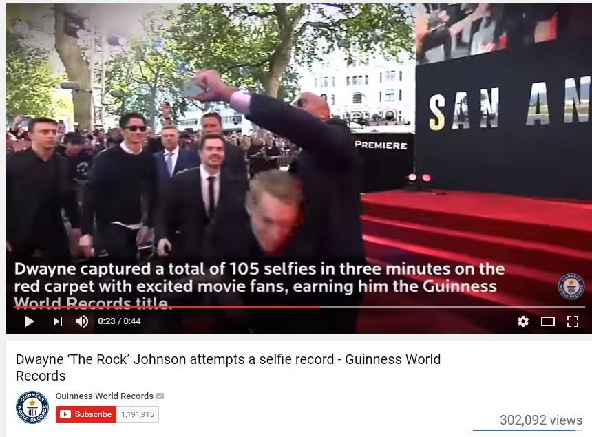 Dwayne Johnson Selfies https://www.youtube.com/watch?v=A8p_AQQ-t38